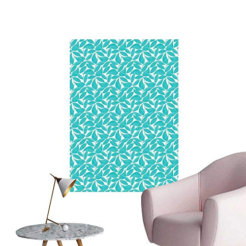 (Turquoise Waterproof Art Wall Paper Poster Foliage Pattern with Lined Leaves Tropical Themed Image Graphic Stripes Rental House Wall Turquoise White W16 x H20)