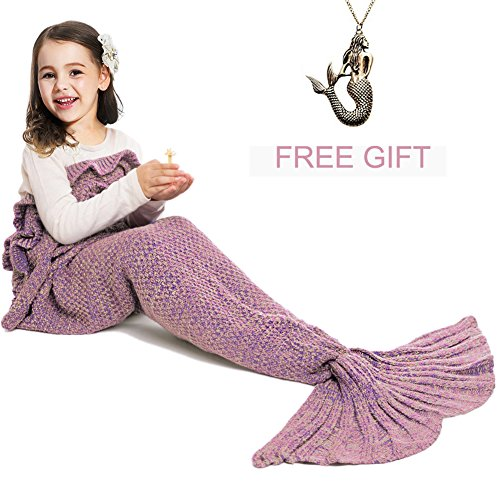 Mermaid Tail Blanket for Kids ,Hand Crochet Snuggle Mermaid,All Seasons Seatail Sleeping Bag Blanket by Jr.White (Kids-Pink)