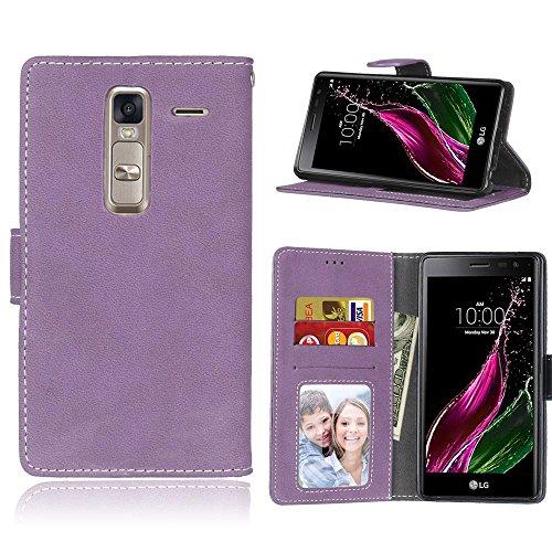 YHUISEN LG H740 Estuche, estilo retro de cuero sólido Premium PU cuero Wallet caso Flip Folio cubierta de la caja de protección con ranura para tarjeta / soporte para LG clase cero H740 ( Color : Rose Purple