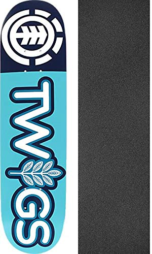 "Element Skateboards Twigs Blue/White Skateboard Deck - 7.2"" x 31"" with Jessup Black Griptape - Bundle of 2 Items"