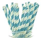 Aqua Blue Striped Drinking Straws - 25 Pack - Vintage Bulk Paper Straws, Aqua Blue Stripe Party Straws