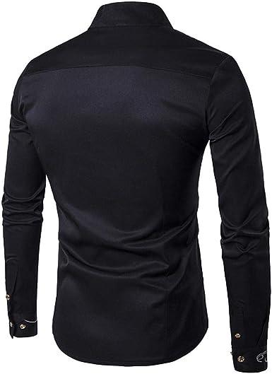 Camisas Casual Hombre Manga Larga, Covermason Blusa Irregular para Hombres Tops Camiseta Bordada