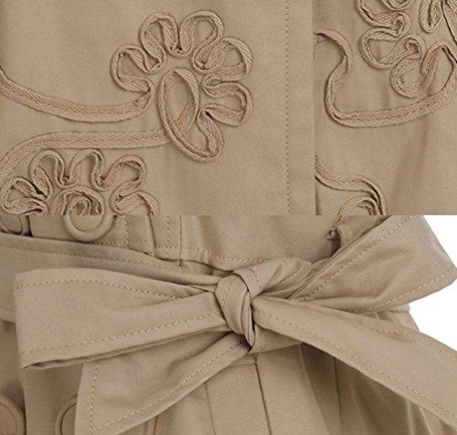 Boutonnage Trench Coat Casual Gabardine Veste Kaki Trench Manteau A lgant Line Slim Femmes Long Double Couleur YuanDian Printemps Automne Ceinture Fit Revers Avec Outwear Unie Midi qwHtRI0