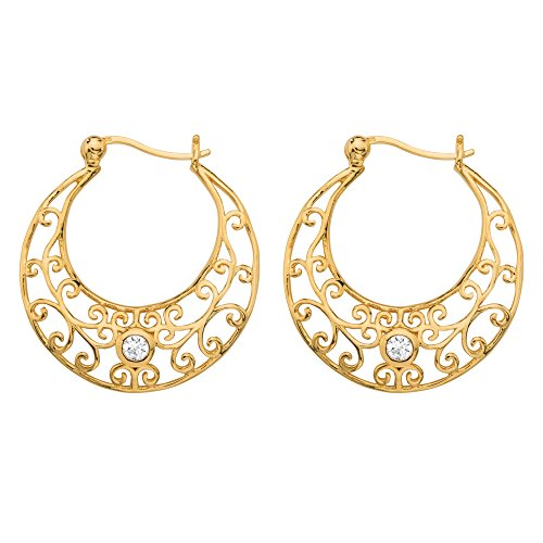 18k Gold Over Silver Filigree - White Cubic Zirconia 18k Gold over .925 Sterling Silver Filigree Scroll Hoop Earrings (29mm)