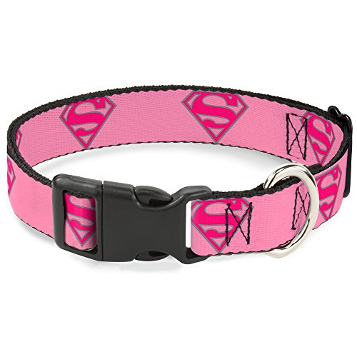 Buckle-Down Superman Shield Pink Plastic Clip Collar, Med...