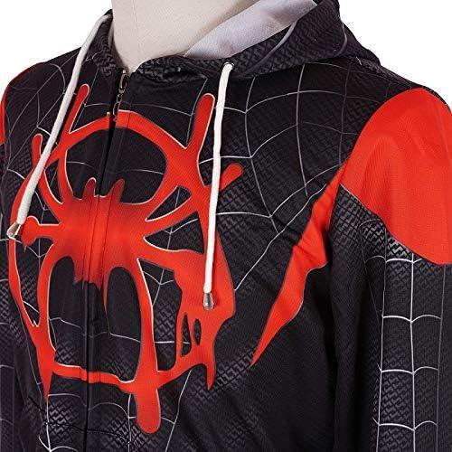 baozhi Superhero Cosplay Hoodie New into The Spider Verse Miles Morales Hoodies 3D Printed Costume Zip Up Sweatshirt