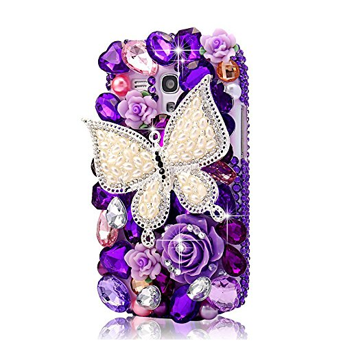 STENES Alcatel OneTouch Fierce XL Case - [Luxurious Series] 3D Handmade Shiny Crystal Bling Case with Retro Bowknot Anti Dust Plug - Pearl Butterfly Rose Flowers/Purple