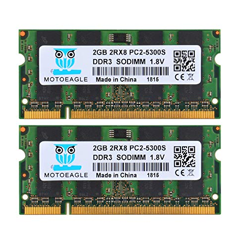 - Motoeagle 4GB kit (2GBx2) DDR2 PC2-5300 Laptop Memory Kit Modules (200-pin SODIMM, 667MHz) PC2-5400 PC2-5300S 2GB 2RX8 Sodimm Ram(2GBx2, 5300S Green)