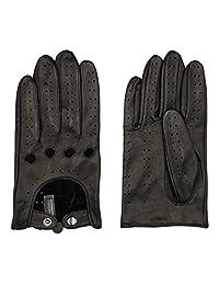 Harssidanzar Mens Leather Driving Gloves Lambskin Unlined Touchscreen, Black, M
