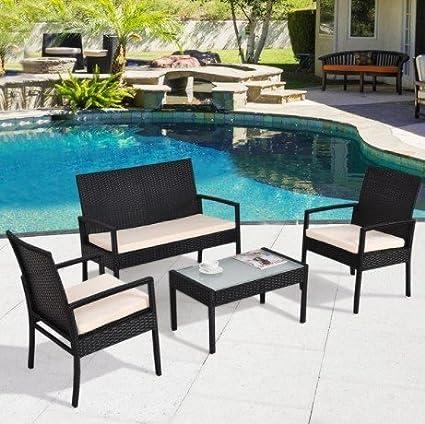 Amazon Com Costway 4 Pcs Outdoor Patio Furniture Set Table Chair