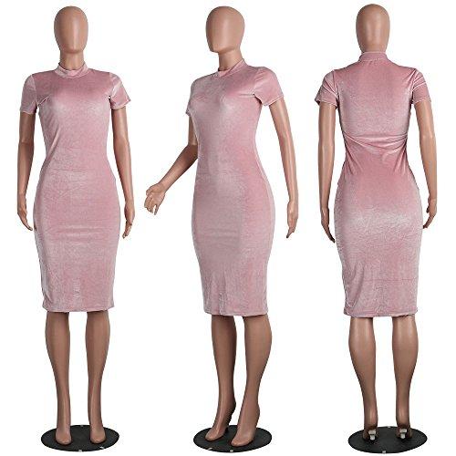 Dress Tunic Pink Slim Dress Bodycon Sleeve Short Party Velvet Fit Aecibzo Womens Sexy xzwHqYgTA