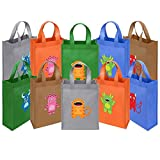 Ava & Kings Fabric Tote Party Favor Goodie Gift Bags for Candy, Treats, Toys, Loot - Birthdays, Showers, Easter, Halloween, Lunch, Grocery - Set of 10 - Mini Monsters Theme