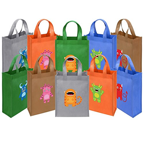 Ava & Kings Fabric Tote Party Favor Goodie Gift Bags for Candy, Treats, Toys, Loot - Birthdays, Showers, Easter, Halloween, Lunch, Grocery - Set of 10 - Mini Monsters Theme -