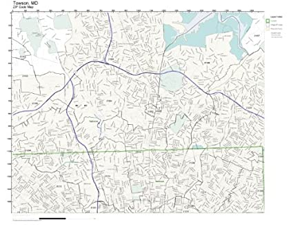 Amazon.com: ZIP Code Wall Map of Towson, MD ZIP Code Map Laminated