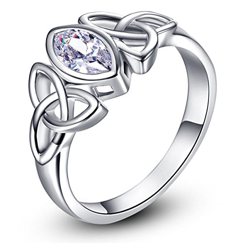 - Psiroy 925 Sterling Silver Marquise Cut Created White Topaz Filled Trinity Celtic Knot Ring Size 6
