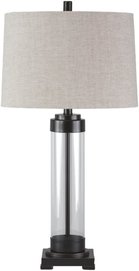Ashley Furniture Signature Design - Talar Glass Table Lamp with Drum Shade - Clear/Bronze Finish