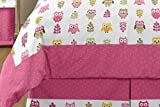 Sweet Jojo Designs 3-Piece Pink Happy Owl Childrens and Kids Full/Queen Girls Bedding Set