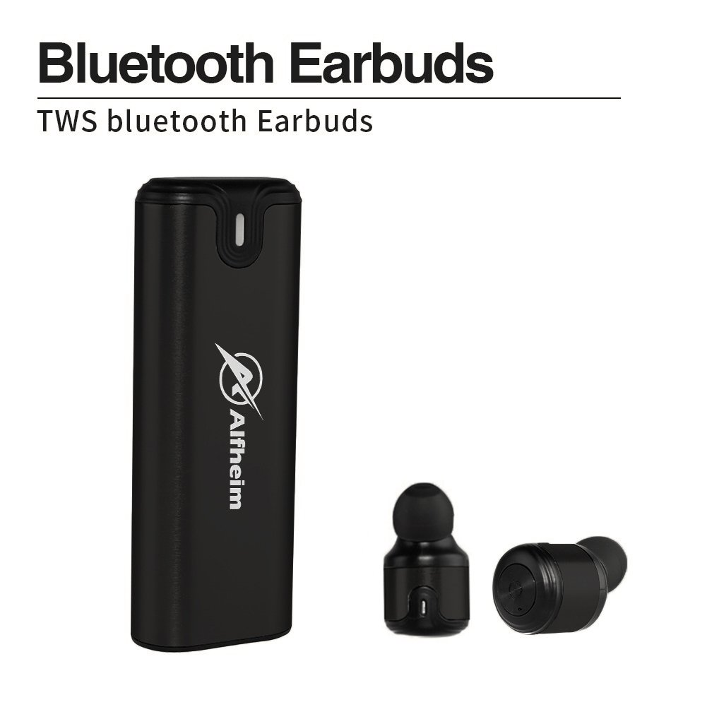 Alfheim True Wireless Earbuds, Dual Bluetooth Noise Cancelling Headphones  Sweatproof Mini Earpieces V4 2 In-Ear Headsets with Charging Case,EASY PAIR