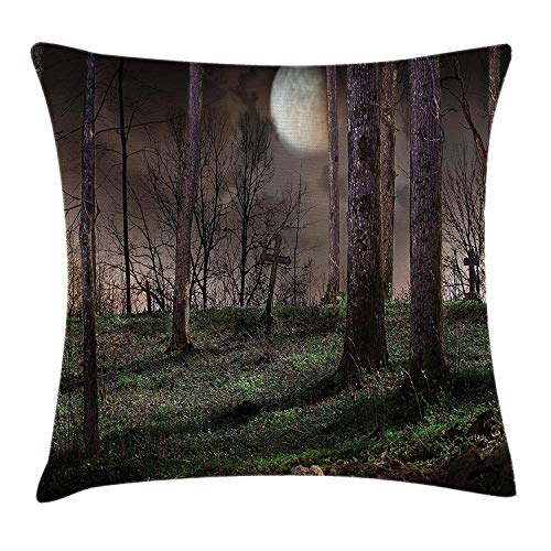 Riolaops Gothic Throw Pillow Cushion Cover, Dark Night in The Forest with Full Moon Horror Theme Grunge Style Halloween, Decorative Square Accent Pillow Case, 22 X 22 Inches, Brown Green Yellow -