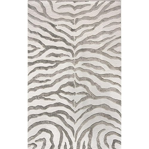 nuLOOM Madagascar Collection Plush Zebra Area Rug, 7-Feet 6-Inch by 9-Feet 6-Inch, Grey