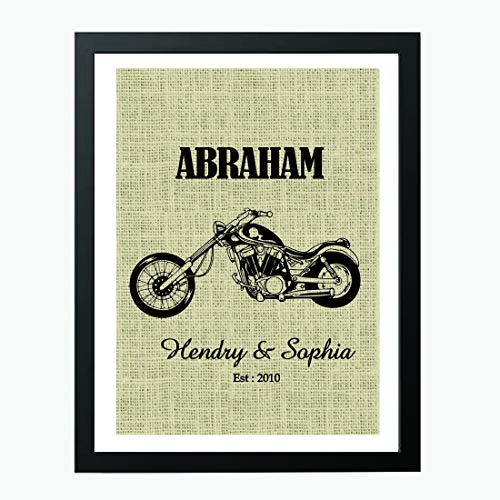 ft Valentines Day Gift Personalized Motorcycle Print, Harley Davidson Decor, Motorcycle Gift, Personalized Family Sign, Burlap Print, Established Sign Customized Burlap Print # 024 ()