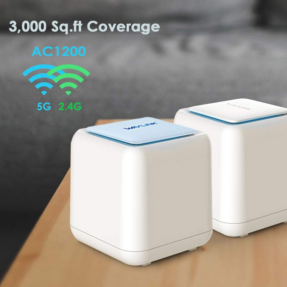 WAVLINK Halo Base 2 Whole Home Mesh Wireless WiFi System, 1 WiFi Router + 1 Satellite Point, Replaces AC Routers and Extenders, 1200Mbps Dual Band, Seamless Roaming, Up to 3000 sq. ft. Coverage by WAVLINK
