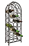 LEMY Metal Arched Freestanding Wine Rack Stand Wine Bottle Display Holder – Holds 23 Bottles W/ Handle & Adjustable Foot Pads Elegant French Style