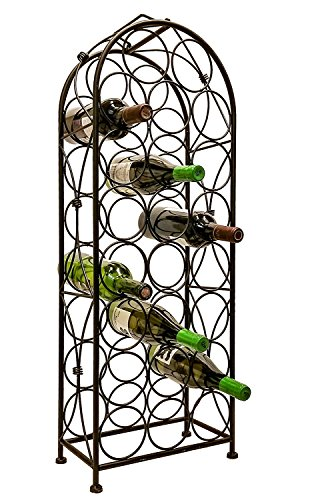 LEMY Metal Arched Freestanding Wine Rack Stand Wine Bottle Display Holder - Holds 23 Bottles W/Handle & Adjustable Foot Pads Elegant French Style ()