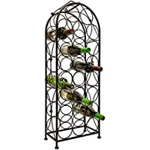 LEMY Metal Arched Freestanding Wine Rack Stand Wine Bottle Display Holder - Holds 23 Bottles W/Handle & Adjustable Foot Pads Elegant French Style