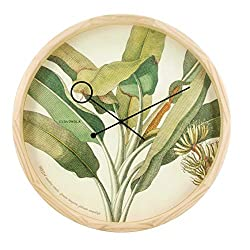 Cloudnola Botanical Palm Floral Wood Wall Clock and Wall Decor, 16.5 inch Diameter, Silent Non Ticking, Battery Operated Quartz Movement, Perfect for Living Room, Bedroom, Kitchen, and More!