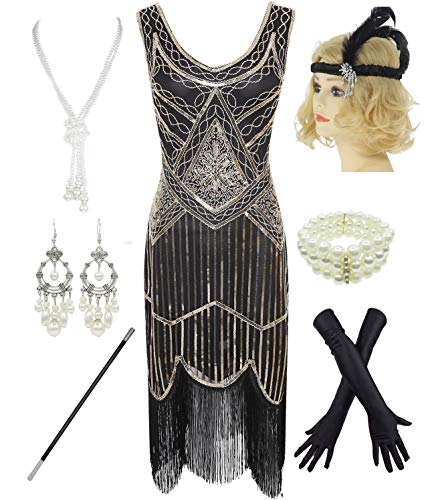 1920s Gatsby Sequin Fringed Paisley Flapper Dress with 20s Accessories Set (S, Gold)