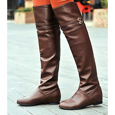 For Comfort Boots CN39 Round US8 Leatherette Over The Party Pu Flat Boots Heel RTRY Shoes Winter UK6 amp;Amp; Fashion Knee EU39 Buckle Fall Women'S Toe Boots Novelty YqROnFf