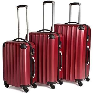 TecTake Juego de 3 maletas con ruedas, con 4ruedas, súper ligeras,diferentes colores rojo Burgundy   No. 400718 M,L,XL
