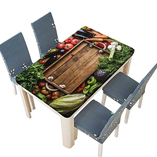 PINAFORE Tablecloth Waterproof Polyester Table Fresh raw vege Ingredients for Healthy Cooking or Salad Making with Rustic Wooden trayin Tablecloth for Wedding/Party W25.5 x L65 INCH (Elastic ()