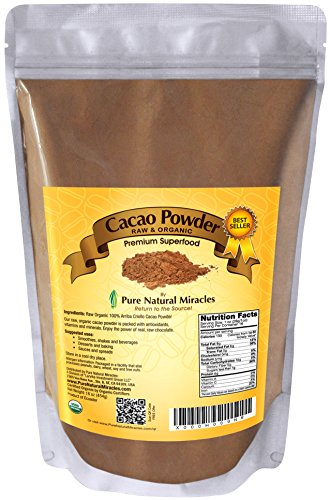 Pure Natural Miracles Raw Organic Cacao Powder, Best Unsweetened Cocoa, 100% USDA Certified (Chocolate Organic Pure)