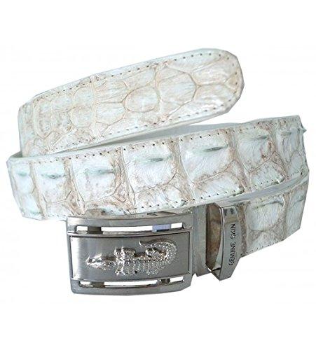 White Crocodile Belt (Authentic Sefaro Crocodile Skin Men's Big Hornback Belt 45)