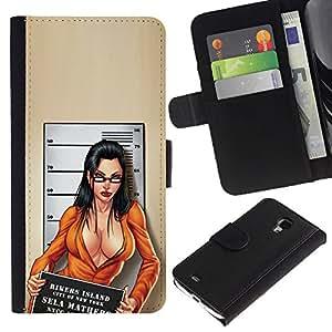 KingStore / Leather Etui en cuir / Samsung Galaxy S4 Mini i9190 / COUP DE GUEULE Bébé Décolleté Chick