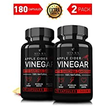 (2 Pack) Apple Cider Vinegar Pills w/ Garcinia Cambogia (1500mg | 180 Capsules) Appetite Suppressant Natural Weight Loss Diet - Detox Cleanse, Lose Weight Fast Bloating Relief Dietary Supplement