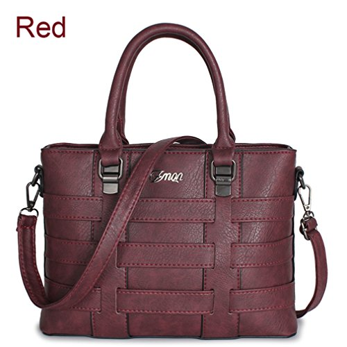 Firstider Women Leather Shoulder Bag Interior Zipper Pocket Casual Tote Shape Fashion Red About 30cm 13cm 21cm