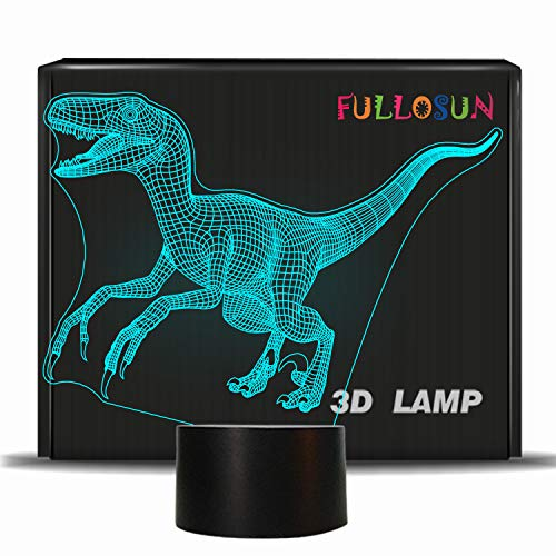 FULLOSUN Dinosaur 3D Night Light Jurassic Velociraptor Projection LED Lamp Baby Nursery Nightlight for Kids' Room Home Décor Xmas Birthday Gifts with 7 Color Changing
