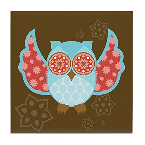 CafePress - Bohemian Owl - Tile Coaster - Tile Coaster, Drink Coaster, Small Trivet ()