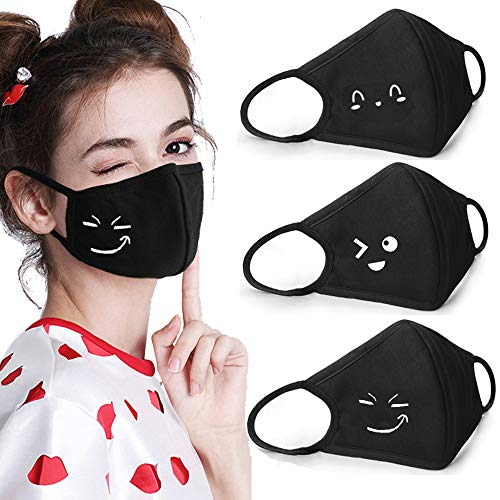 Coolha Mouth Mask Cover Cotton Anti-dust Respiratory Protective Cute Mouth Mask with High Nose Bridge Black 3 Pack -