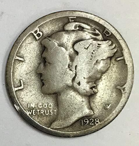 1928 D Mercury Dime 90% Silver 10c Average Circulated