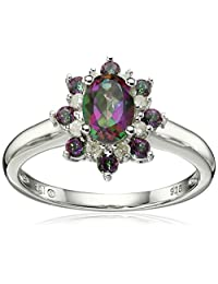 Sterling Silver Mystic Fire Topaz and Diamond Ring (1/10cttw, I-J Color, I3 Clarity), Size 7