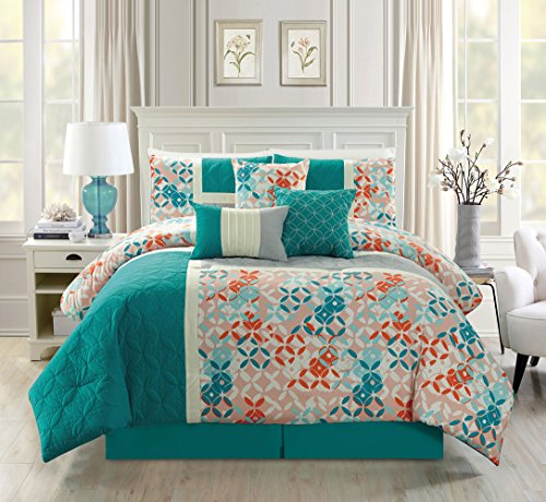 Modern 7 Piece Quilted Bedding Turquoise Blue / Beige / Orange QUEEN Patch Work Comforter Set with accent pillows (Turquoise Bedding Red)