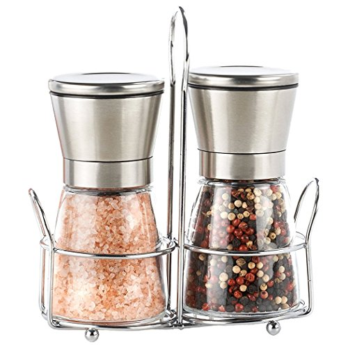 (Premium Salt And Pepper Shakers Grinders Mills Set Brushed Stainless Steel,Glass Body,Ceramic Rotor And Matching Stand,Pair 5.25
