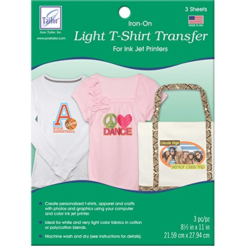 Iron Ons Color Transfers - June Tailor Light T-Shirt Transfer Paper 3/Pkg