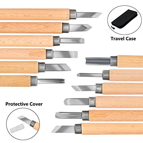 Triangle Sale Wood Carving Tools - Carbon Steel, Razor Sharp, Non Slip Wood Handle, with a Protector Cover & Carrying Case - for Arts, Crafts, Soap, Pumpkin, Vegetables, Clay, Linoleum & More