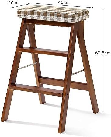 Taburete Escalera Taburete Plegable Escalera Plegable heces, Madera sólida Subida de escaleras, de múltiples Funciones de la Flor de Soporte del Estante (Color : Stripes): Amazon.es: Hogar