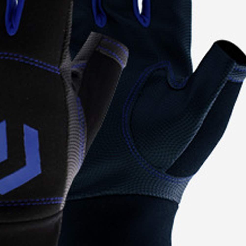 1 Paire Bleu, Noir ouken Gants Voile Premium Doigts Gants rembourr/é avec imprim/é Palm 3 antid/érapants Fingerless Gants Sports de Plein air